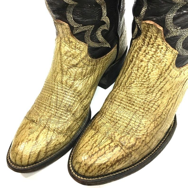 08415bc8083 Vintage Custom Made Men Brown Genuine SHARK SKIN Cowboy Western EXOTIC  Leather Boots 8.5 1/2 D