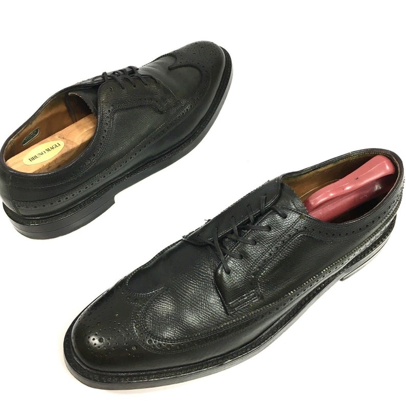 4c80ec45ceee7 W Vintage 50 s Florsheim IMPERIAL Men BLACK Leather Dress