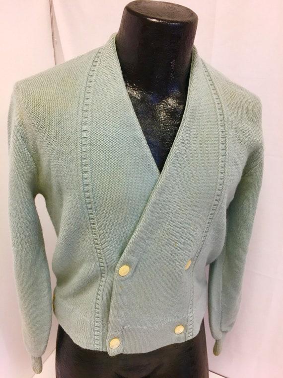 Vintage 50's Squire Shop Men's Sage Green Knit Woo