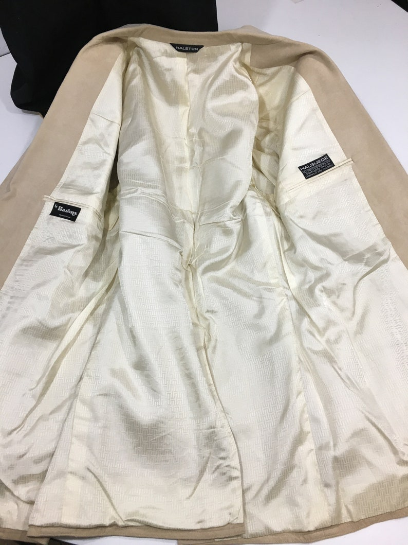 Vintage Halston Men Natural Beige Sport Coat Halsuede DINNER Jacket ULTRA SUEDE Blazer 40 L