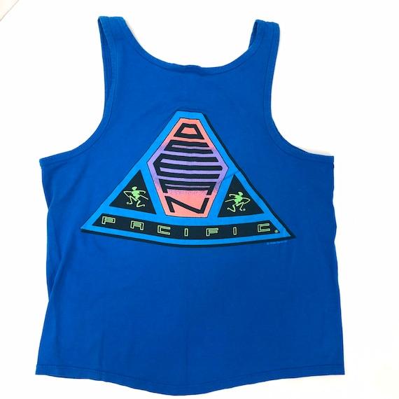 Vintage 1991 Ocean Pacific OP Blue NEON Muscle Tan