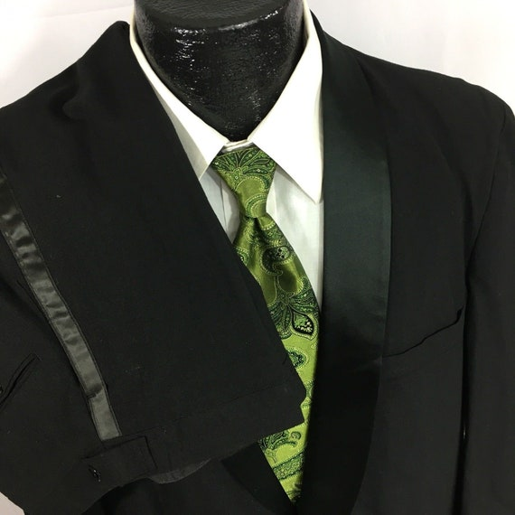 mj Vtg Vintage 50/'s Men Black ROCKABILLY Tux Satin Shawl Collar Wool Prom Formal Wedding Tuxedo SMOKING Suit 42 R 2928