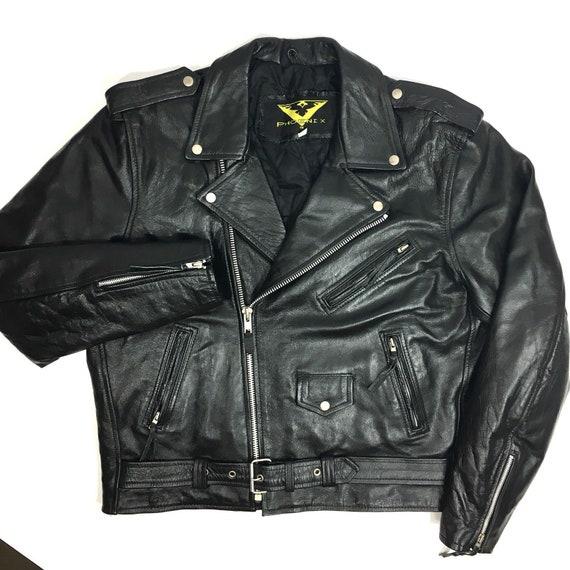 Motorcycle Leather Jacket Retro Jacket Mens 80´s Old School Biker Jacket Rocker