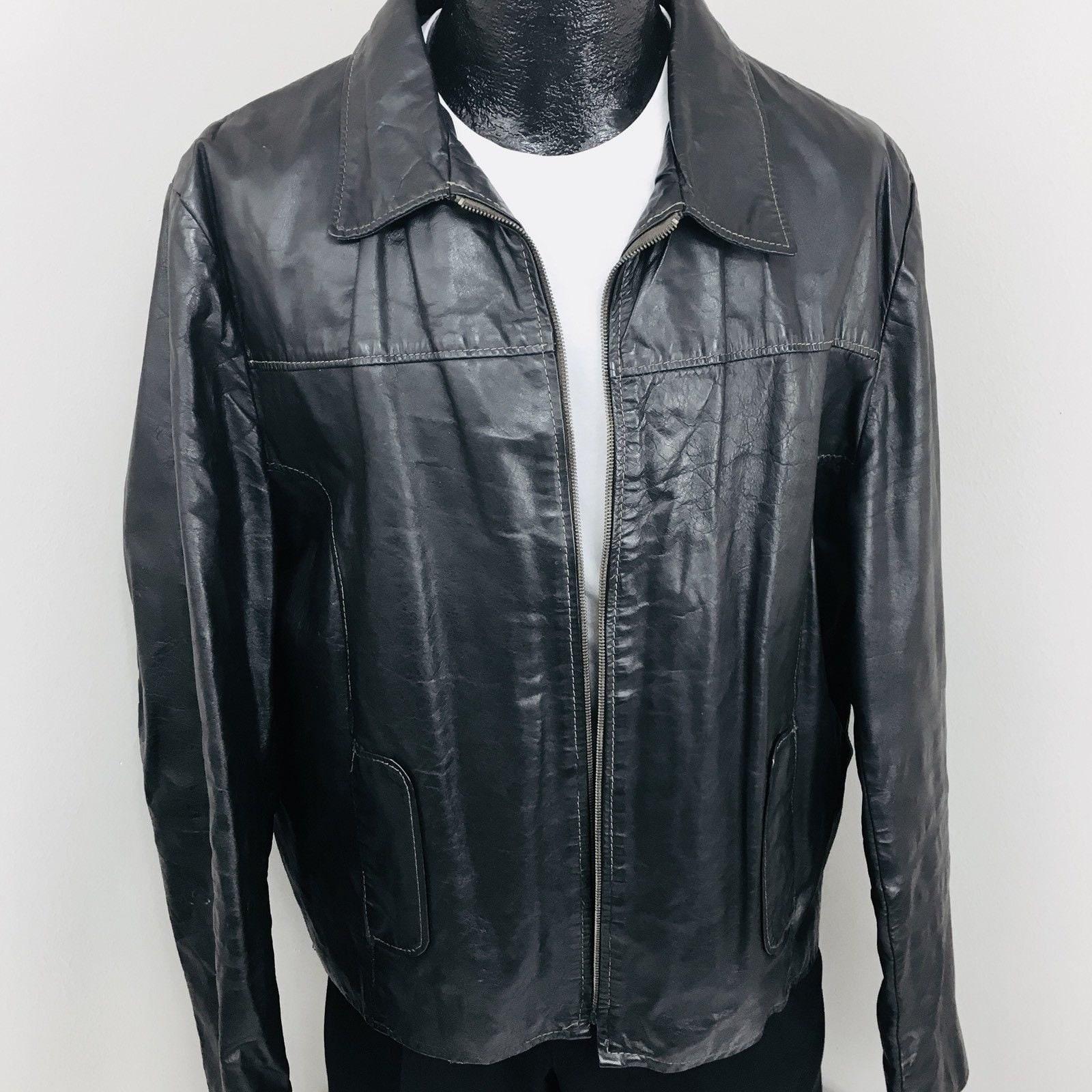 1960s – 70s Men's Ties | Skinny Ties, Slim Ties Vintage Jean Pierre Men Black Leather Cafe Racer Jacket Motorcycle Biker Coat 44 L $167.99 AT vintagedancer.com