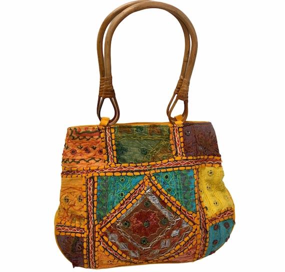 Tribal gypsy bohemian bag Ibiza style hippie hobo bag Heavily embroidered Banjara Market Bag Kutchi Banjara thela bag