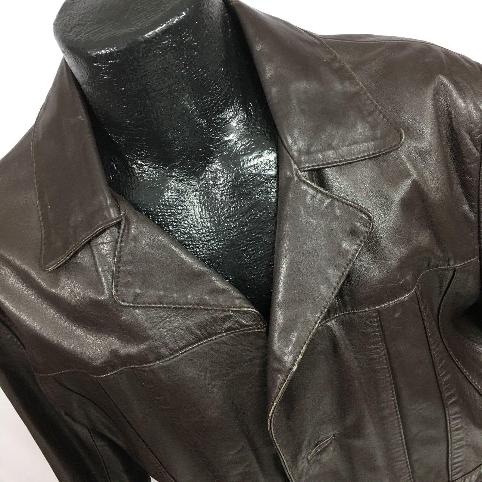 1960s – 70s Men's Ties | Skinny Ties, Slim Ties Vintage 1960-70s Campus Mens Brown Mod Sport Coat 3 Button Belted Back Leather Spy Jacket 44 $119.00 AT vintagedancer.com