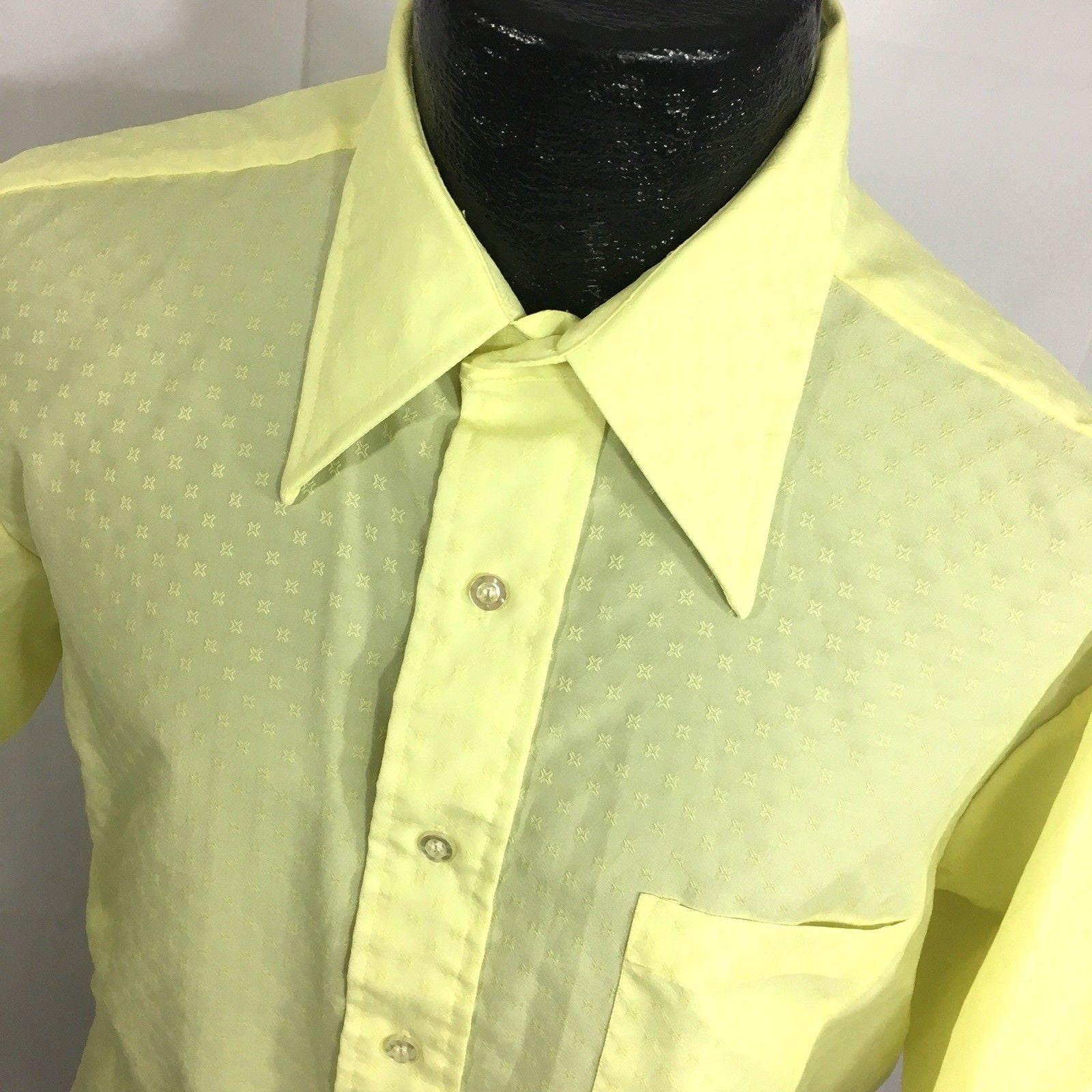 1970s Men's Shirt Styles – Vintage 70s Shirts for Guys Mj Vintage Vtg 60 70s Men Mod Yellow Atomic Stars Short Sleeve Thin Disco Shirt 16.5 12 $39.99 AT vintagedancer.com