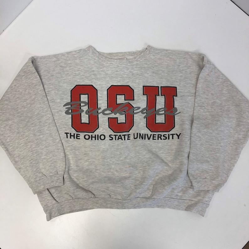 Vintage 80-90/'s Infini-T Men Heather Gray OSU Ohio State BUCKEYES Football Athletics Sweatshirt XXL 2X