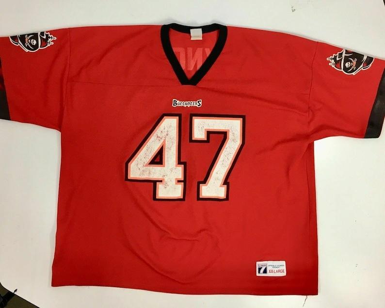 online store d39c2 c81cb Vintage 90's Logo 7 NFL Tampa Bay Buccaneers John LYNCH THROWBACK Football  Jersey 2X