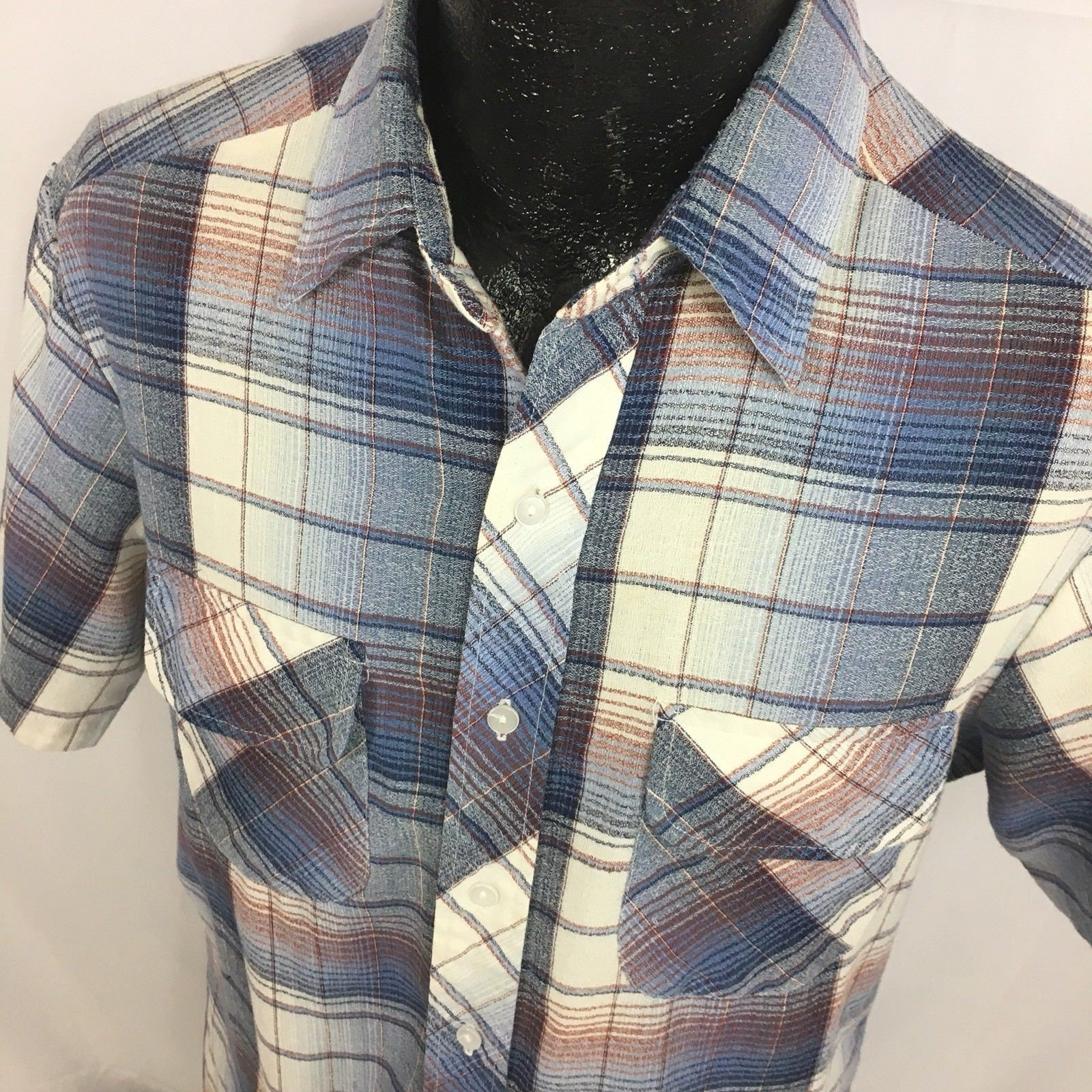 1960s – 70s Men's Ties | Skinny Ties, Slim Ties Vintage 1950 60s Mens Blue Plaid Check Thin Barkcloth Button Up Flap Pocket Shirt L $59.99 AT vintagedancer.com