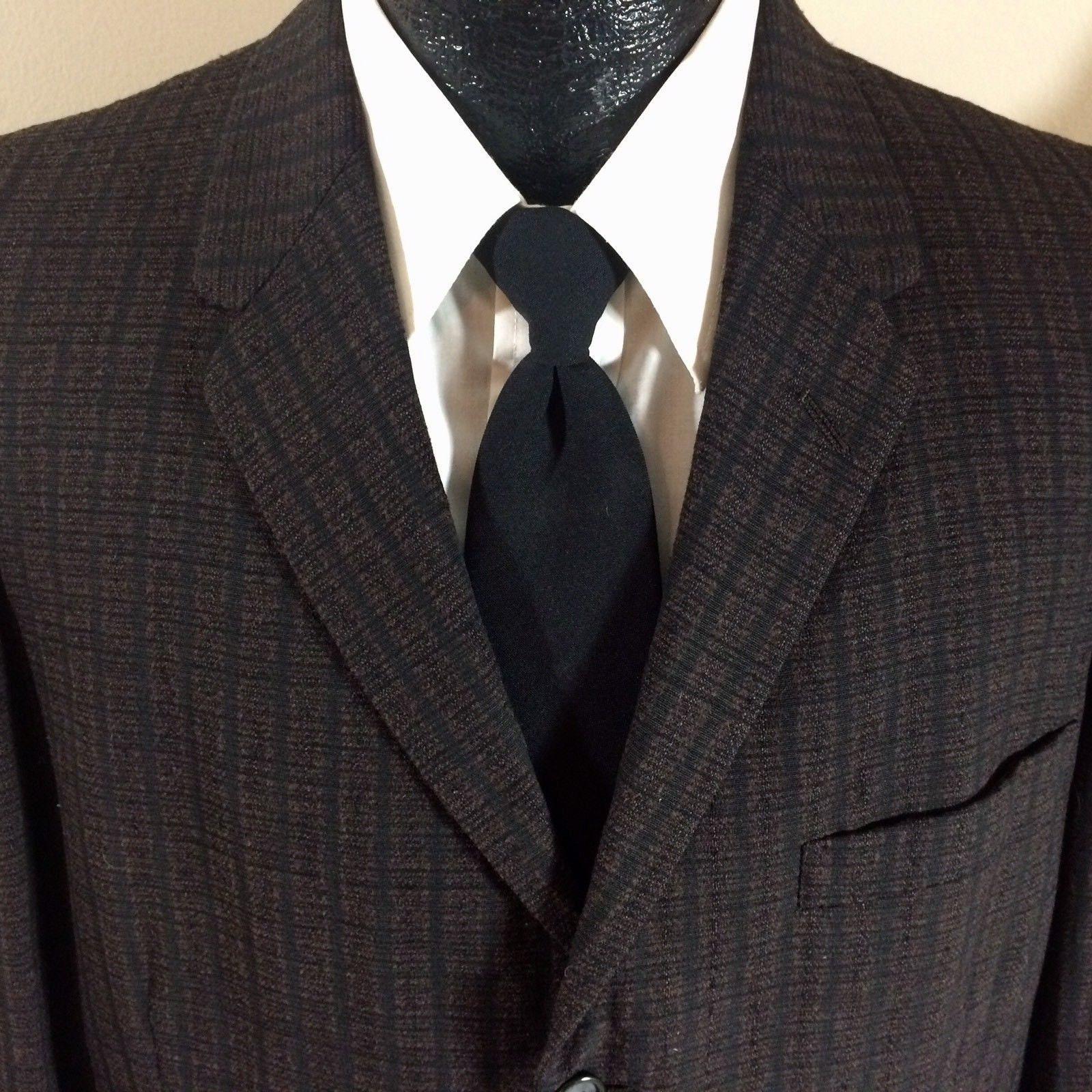 1950s Men's Ties, Bow Ties – Vintage, Skinny, Knit Vintage 50s Penneys Mens Black Brown Check Sport Coat Rockabilly 3-Btn Jacket Textured Wool Blazer 42 L $129.99 AT vintagedancer.com