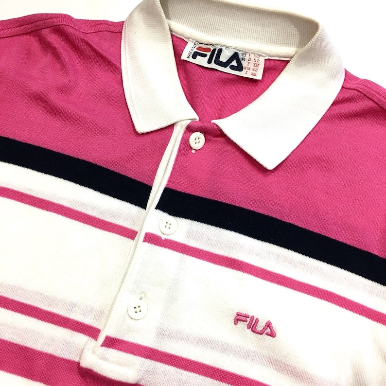 44c0c05c Vintage 80's FILA Italy Men's White Pink STRIPE Logo | Etsy