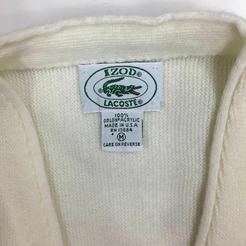 cd1101ced347f NOS Vintage 80's Izod Lacoste Men White Knit Cardigan Alligator Logo  Sweater Jumper M