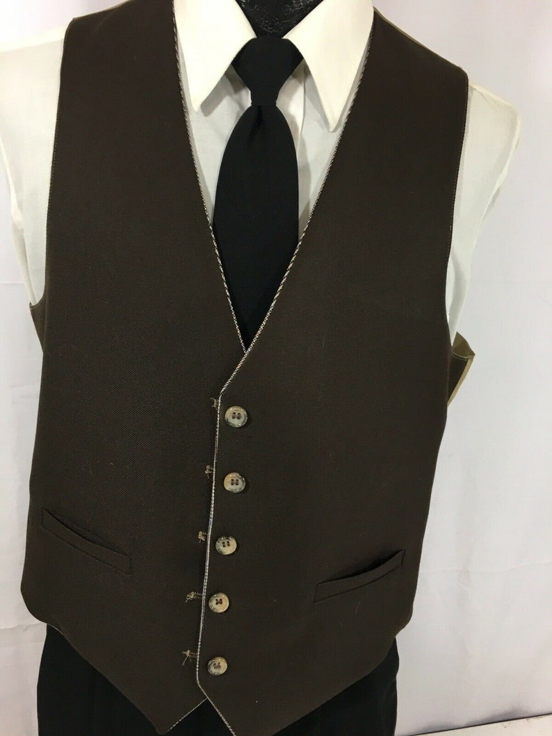3 pc Vintage 60/'s Palm Beach Men Brown Houndstooth GLEN PLAID Wool Bankers Suit 40 R /& Vest Trousers Pants Slacks 3630