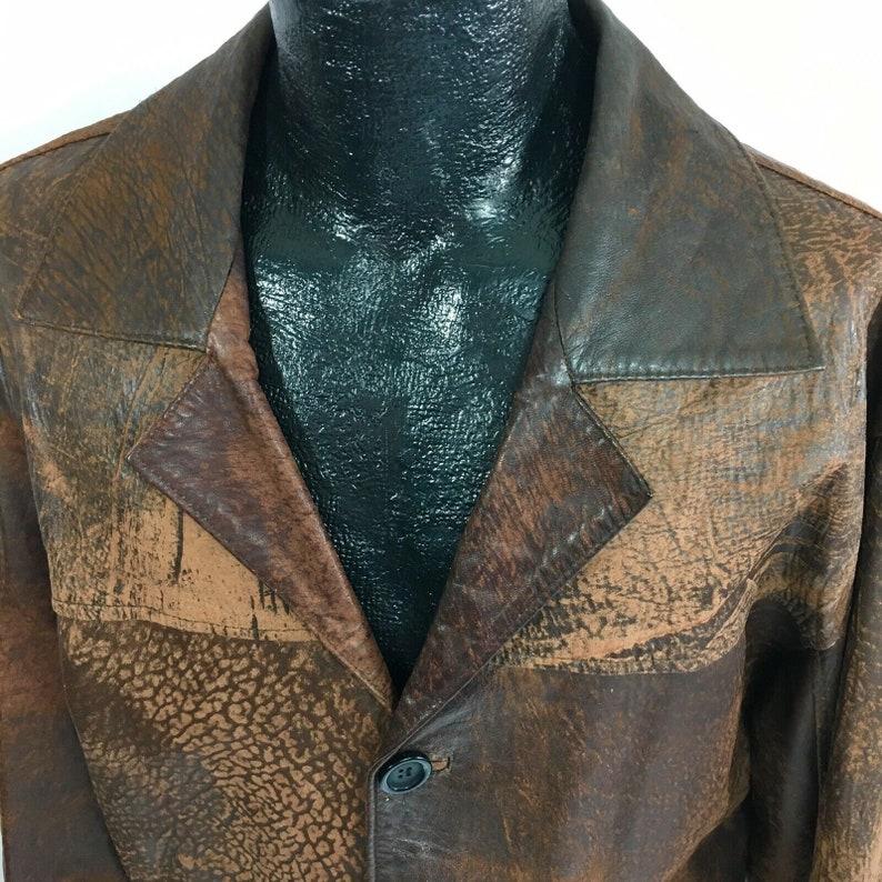 9ac3b3761 Vintage Vtg 80-90's Men Brown DISTRESSED Sport Coat EXOTIC Skin Leather  3-Btn Jacket 44