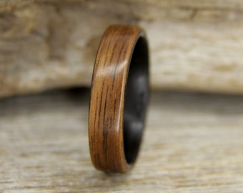 Wood Ring - Size 10.5 - French Walnut and Ziricote Rosewood Wooden Ring - Ready to Ship Bentwood Ring