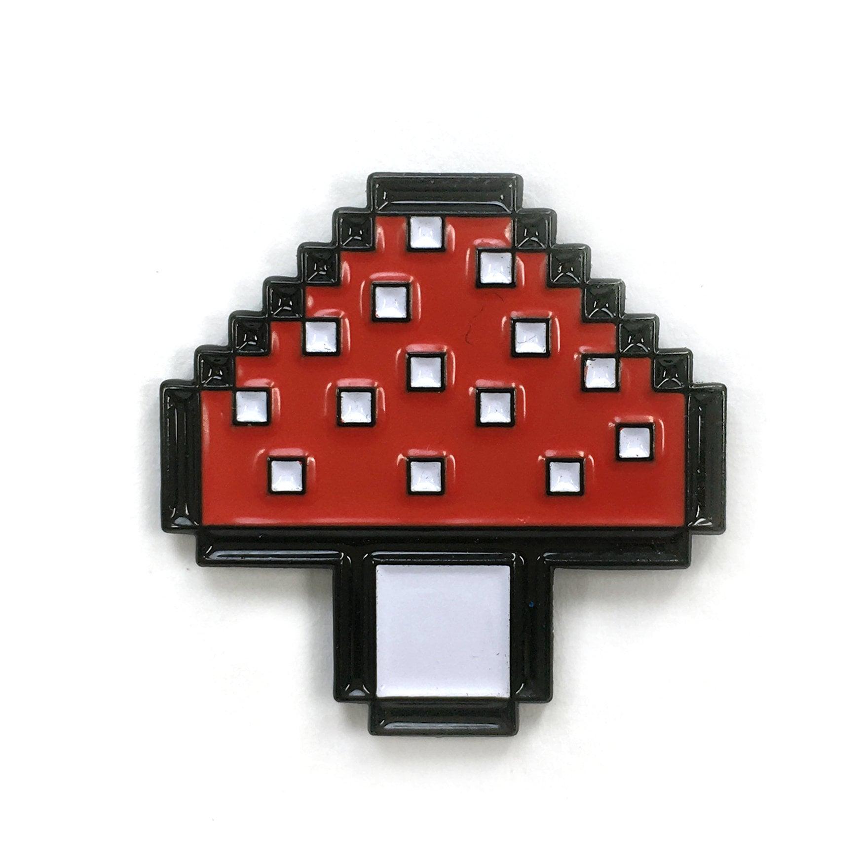 Pixelated Mushroom Enamel Heady Festival Hat And Lapel Pin