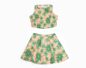 Pastel Peach Palm Tree Crop Top and Skirt (Set or Separates)