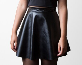 a2f187a82b5643 Faux Leather Skater Skirt (Made to Order)