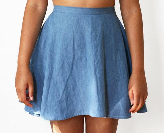 69e06cc85 High Waist Denim Skater Skirt 3 COLORS Made to Order | Etsy