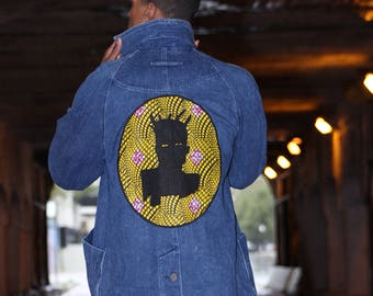 Baquiat Ankara Self Portrait Vintage Denim Jacket Sz Large by ReformedSchool