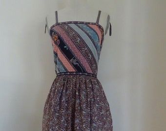 70's Sundress Cotton Calico Spagetti Straps Dress Small