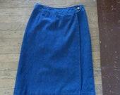70 39 s Wrap Skirt Denim Indigo Pencil Skirt