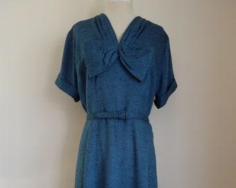50's Rayon Dress Blue Bow Day Dress Large