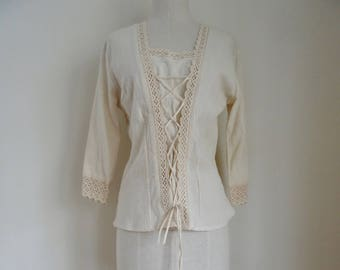 70's Blouse Boho Hippie Lace Tie-up Festival Top