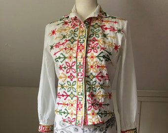 Vintage Blouse Embroidered Cotton Tapered Top Handmade Ethnic Blouse XS