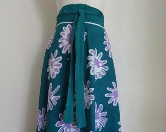 70's Wrap Skirt India Pakistan Cotton Batik Hippie Boho
