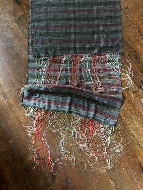 Vintage 40's Scarf Silk Woven Bureau Scarf Fringe