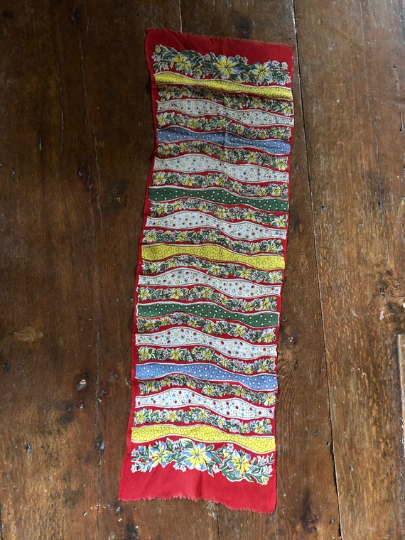 Vintage 30's 40's Scarf Floral Abstract Print Scar