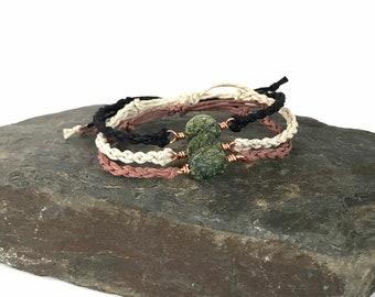 Serpentine + Copper Bracelet - Macrame Hemp, Adjustable, Wire Wrapped Gemstone, Custom Colors