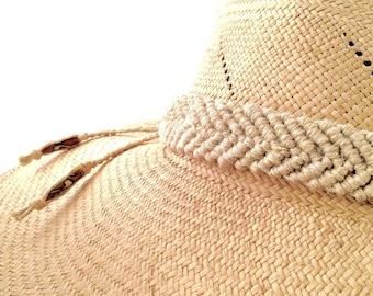 f08ba152 Hemp Hat Band - Macrame - Adjustable Natural Fiber with Carved Bone Beads