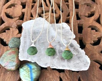 Custom Canadian Jade Gemstone Teardrop Necklace - Hemp & Copper, Sterling Silver or Brass Metals, Wire Wrapped