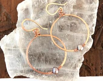 Pearl Copper Hoop Earrings - Ready to ship