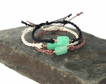Chrysoprase + Copper Bracelet - Macrame Hemp, Adjustable, Wire Wrapped Gemstone, Custom Colors