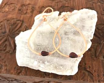 Garnet Copper Teardrop Hoop Earrings - Ready to ship