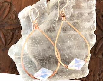 Opalite Copper Teardrop Hoop Earrings - Ready to ship