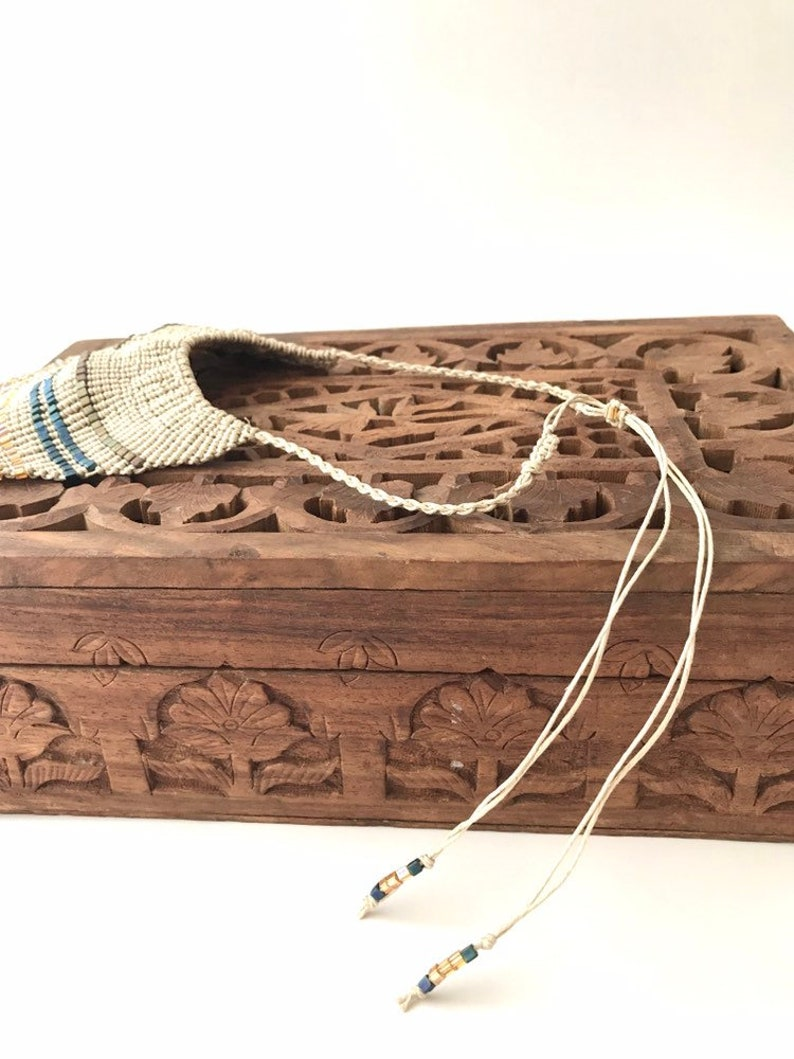 Macrame Goddess Necklace Adjustable Bib Statement Necklace Knotted Hemp /&  Glass Beads