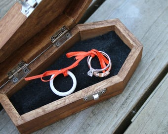 Custom Wedding Ring Pillow for Wood Coffin Box [Box Sold Separately]