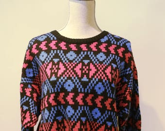 80s Electric Pink And Blue Geometric Nordic Pattern Ski Sweater