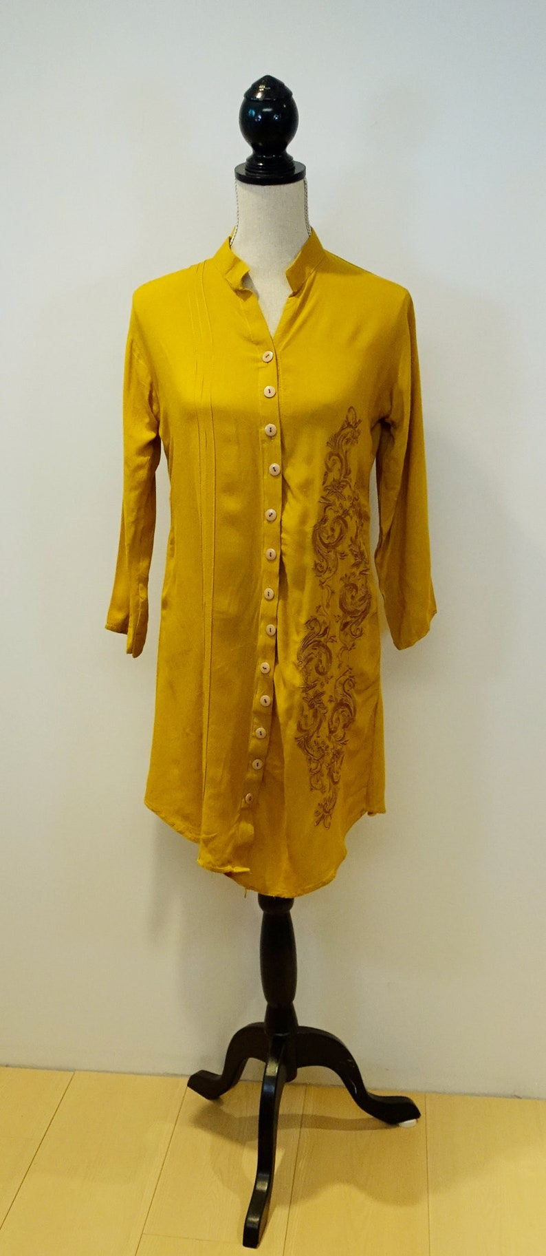 4e3ff5b373f41 Mustard Yellow Light Cotton Embroidered Floral Scroll Button