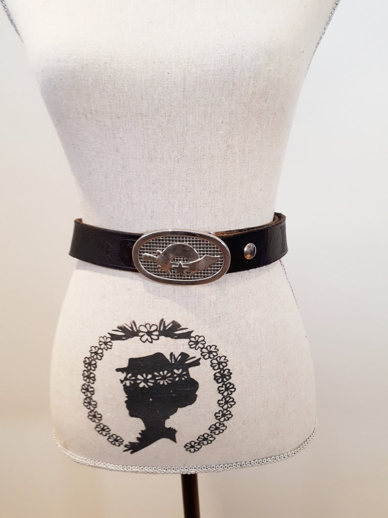Men/'s Black Leather Tooled Shriners Logo Masonic Silver Buckle Belt