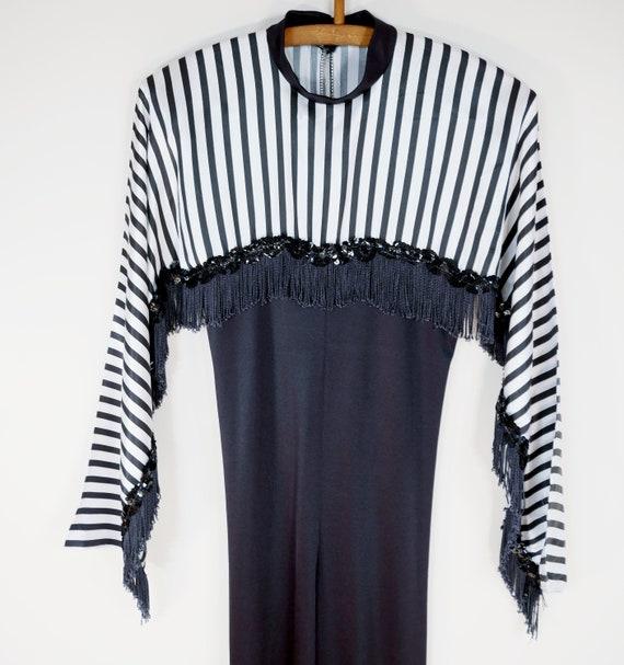 Black Fringed Sequin Striped Onesie Jumpsuit