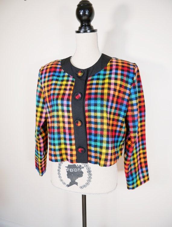 Boxy Rainbow Plaid Cropped Wool Blazer
