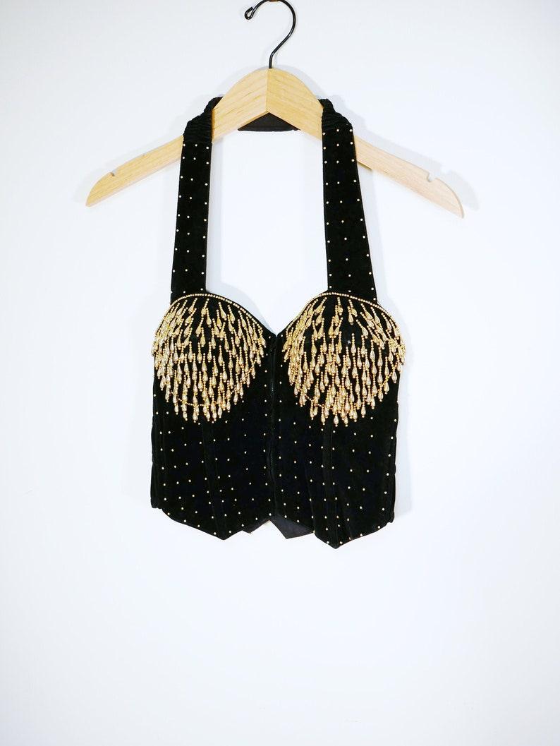 Black Velvet Gold Studded Fringe Halter Bustier