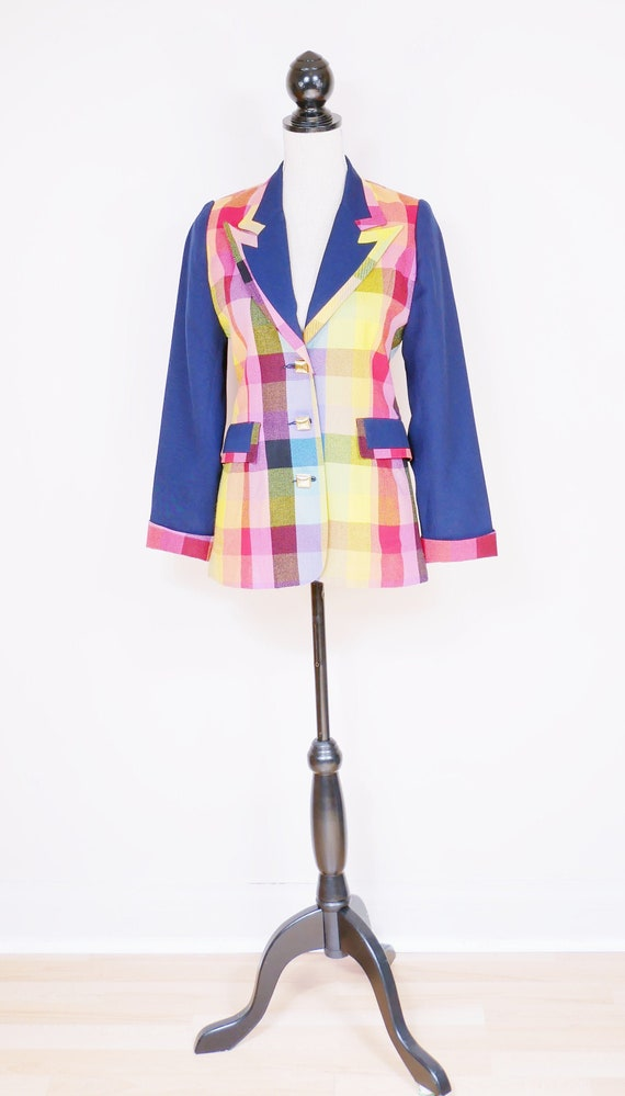 Women's Navy Rainbow Wool Plaid Blazer