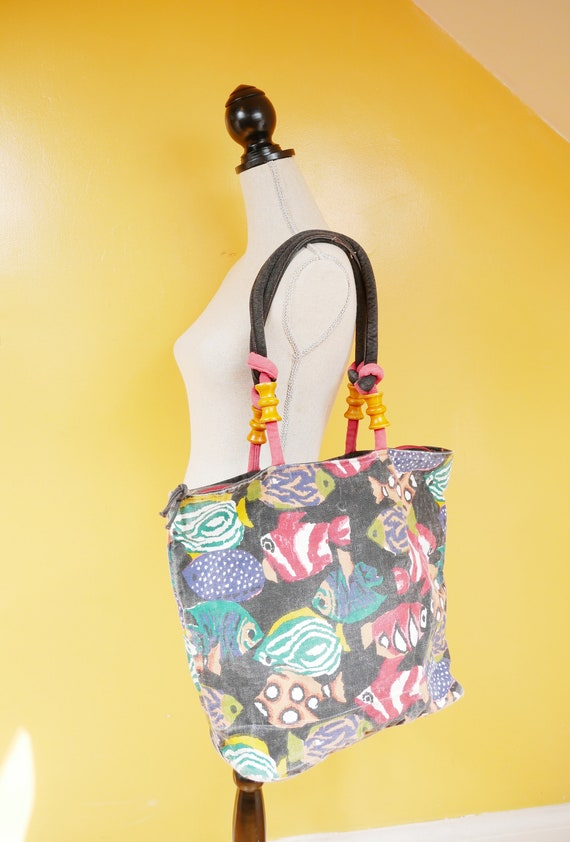Tropical Fish Print Black Canvas Tote Bag Purse